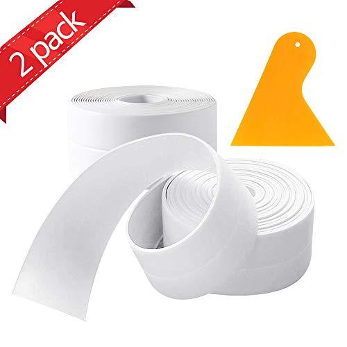 2 Stück Wasserdichtes klebeband,PVC Selbstklebende Dichtband und verhindert Schimmel,für Küche, Bad, Badewanne, Dusche, Boden, Wand, Kantenschutz