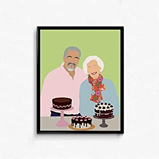 Lee Tee Great British Bake Off- Mary Berry and Paul Hollywood Minimalist Poster Gifts for Fan Poster Home Art Wall Posters [No Framed]