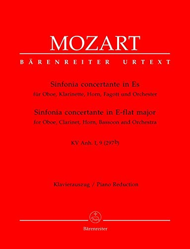 Sinfonia Concertante in Es KV297B - Oboe, Clarinet, Horn, Bassoon and Orchestra - SCORE