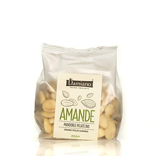 Damiano THINK ORGANIC Mandorle Pelate, 100% Biologiche - Senza Glutine e Vegan Friendly - 250 g