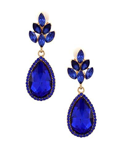 Schmuckanthony Hoernel. Bellissimi orecchini lunghi a clip in metallo dorato con cristalli blu royal, lunghezza 5,3 cm.