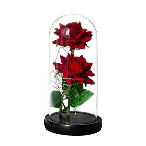 JXAA La Bella Y La Bestia Rosa, Flor Inmortal, Rosa De Seda Roja Lámpara LED En Cúpula De Vidrio con Base De Madera Bodas, Aniversario, Cumpleaños, Día De San Valentín