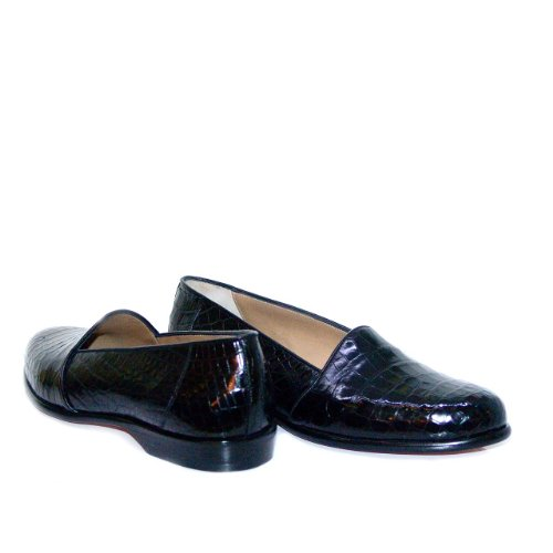 Romano Martegani Baby Alligator Low Vamp Loafer Black