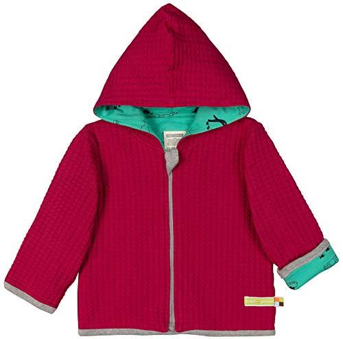 loud + proud Baby-Unisex Wendejacke Strick Aus Bio Baumwolle Sweatjacke, Rosa (Berry Ber), 128 (Herstellergröße: 122/128)