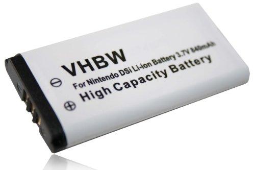 vhbw Batería compatible con Nintendo DSi, NDSi consola de juegos, reemplaza Nintendo TWL-001, TWL-003, C/TWL-A-BP, BOAMK01 -(Li-Ion, 840mAh, 3.7V)