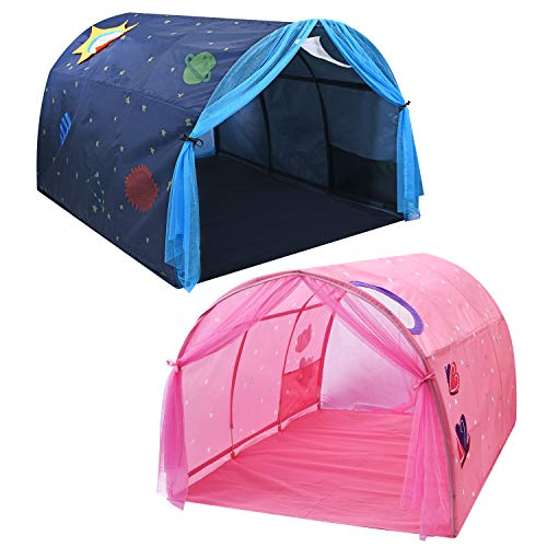 Bed Dream Tent for Kids, Spacious Sturdy Play Tent with Mosquito Net and Carry Bag, Fits Twin Size Bed (Blue)