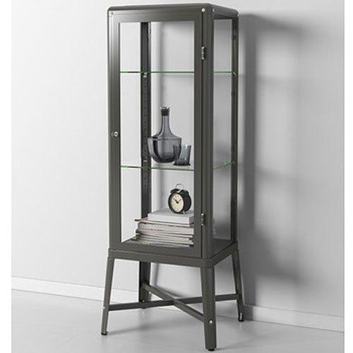 Ikea Fabrikor - Armario para puerta de cristal, color gris oscuro, con cerradura, diseño industrial
