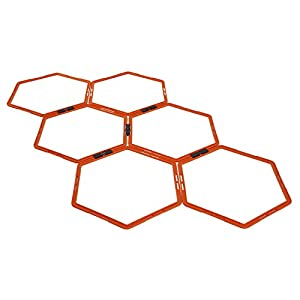 Yes4All Hexagonal Agility Rings with Carrying Bag - Speed Rings, Agility Hurdles for Agility Footwork Training (Set of 6 Rings), A. Orange - 6 Rings from Yes4All