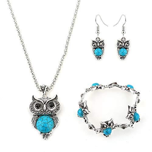 ITVIP Eleganza Vintage Juego de joyas estilo nacional turquesa búho collar colgante + pendientes + pulseras