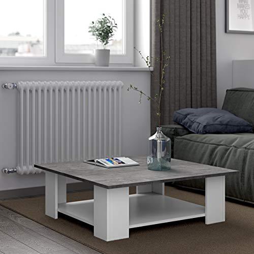 TemaHome 2082A2198X00 Table Basse, Blanc/Béton, 89 x 31 x 67 cm
