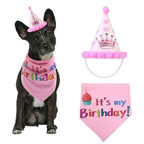 Mengqiy Haustier Hund alles Gute zum Geburtstag Bandana Schals und Partyhut für Hund Katze, weicher Schal und entzückende Mütze für Partyzubehör, Haustier Geburtstagsgeschenk Dekorationen Set