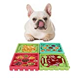 VavoPaw Pet Slow Feeder Tray, [4-Pack] Slow Eating Licking Mat, Slow Feeder Dog Tray & Snuffle Mat, Pet Anxiety Relief fit Dog Cat Bathing Grooming Food Treats - Bunt