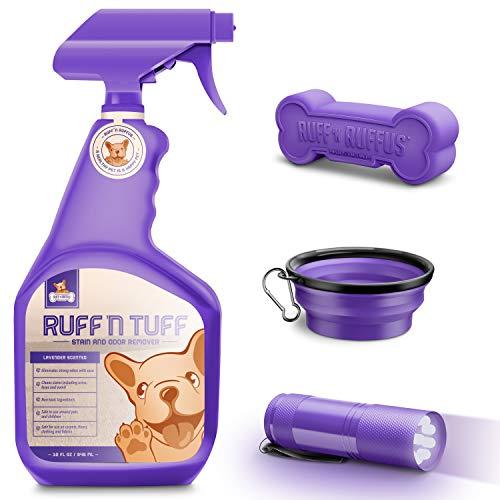 32 Oz Professional-Strength Enzyme Pet Stain Remover & Odor Eliminator Lavender Scent + FREE UV Blacklight Urine Detector + FREE Travel Bowl + FREE Bone Toy | Floor & Carpet Cleaner For Pets Cat & Dog