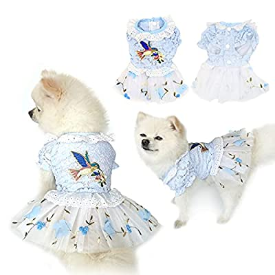 SunteeLong Pet Dog Dress Clothes Puppy Skirt Dog Embroidery Princess Dresses Dog Tutu Lace Dress Skirt Dog Costumes Cute Doggie Cat Apparel for Small Dogs Cats Blue XS