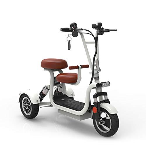 AA100 Folding Elektro-Dreirad Outdoor-Freizeit-Reise-Roller 48V10A Lithium-Batterie 45km für Damen/älteres behindertes Elektro-Dreirad,Weiß