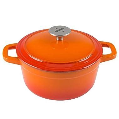 Zelancio 3 Quart Cast Iron Enamel Covered Dutch Oven Cooking Dish with Lid (Tangerine Orange)