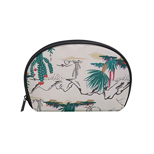 Shell Shape Best Makeup Organizer Beautiful Natural Mountain Range Print Cosmetic Pencil Bag Zipper Bag Makeup Portable Travel Multifunction Storage Bag With Zipper For Women