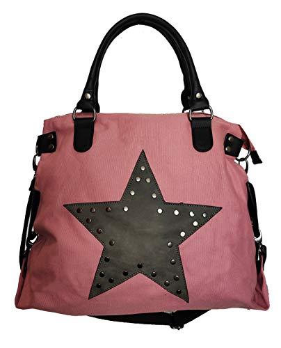 Star Bag - Bolso para mujer, diseño de estrella vintage, con asa, tela de lona con remaches, color, talla Maße: L: 45cm H: 42cm B: 18cm