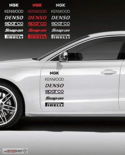 SUPERSTICKI NGK Kenwood Pirelli Sparco 40 cm sticker, autostickers, stickers, decal, muurtattoo, van hoogwaardige folie, UV- en wasstraatbestendig,