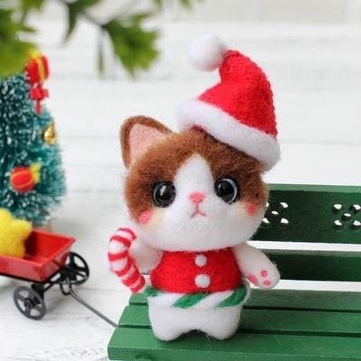 Qitao Wolle fühlte Nicht fertige Filze Poked handgefertigte Haustiere Katze Spielzeug Puppe Wollfilz Nadel Poked Kitting DIY Niedliche Tiernadel Material Tasche (Color : 5)