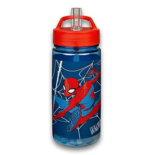 Scooli SPMA9913 - Aero Trinkflasche, Marvel Spider-Man, mit integriertem Strohhalm und Trinkstutzen, BPA und Phthalat frei, ca. 500 ml Fassungsvermögen