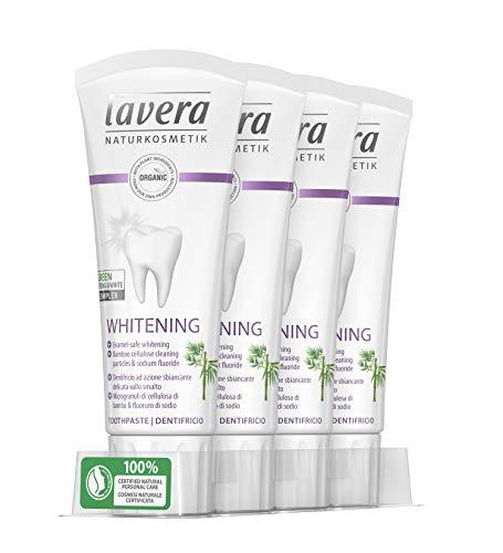 lavera tandpasta witte tandpasta, veganistisch biologische tandpasta 100% gecertificeerde natuurlijke cosmetica 4 x 75 ml container - totaal: 300 ml
