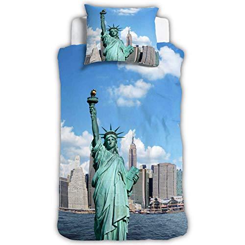 ESPiCO Bettwäsche Sleep and Dream New York Freiheitsstatue Amerika Skyline Empire State Building Liberty Renforcé, Größe:135 cm x 200 cm