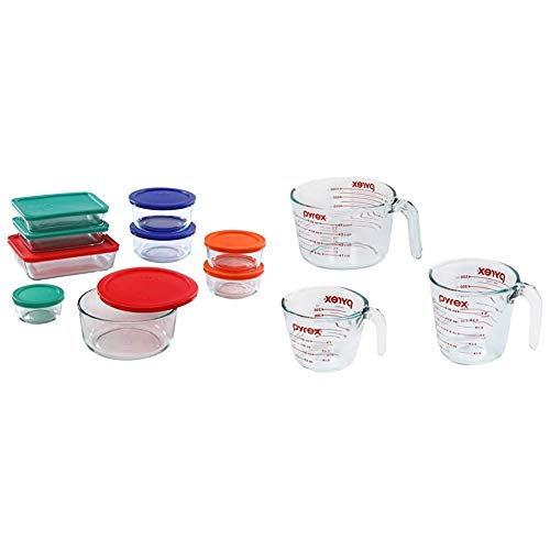 Pyrex Simply Store Meal Prep Glass Food Storage Containers (18-Piece Set, BPA Free Lids, Oven Safe),Multicolored & Glass Measuring Cup Set (3-Piece, Microwave and Oven Safe),Clear