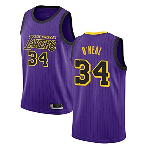 GAOJR Camiseta De Baloncesto Lakers # 34 Oneal, Camiseta Sin Mangas De Chaleco De Baloncesto | Transpirable De Secado Rápido (Morado) M