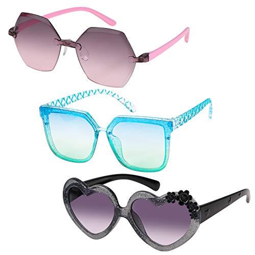 Hifot 3 Piezas Gafas de Sol con Forma de Corazón, Polarizadas niños Gafas de Sol Templos Plegable para niñas - De 4 a 12 años de Edad
