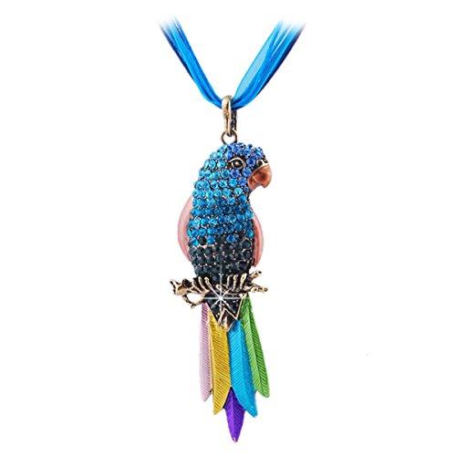 Kristall Anhänger Papagei Halskette PulloverKette (Blau)