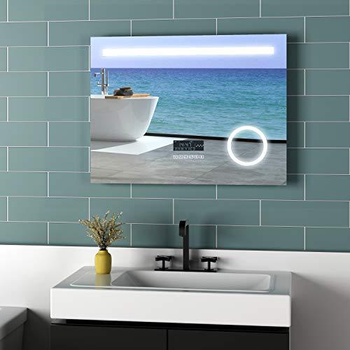 Meykoers LED Badspiegel Beleuchtung 80x60cm Spiegel mit 3-Fach Vergrößerung, Uhr, Bluetooth Lautsprecher und Sensor-Schalter Lichtspiegel Kaltweiß 6400K Energieklasse A++