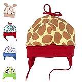 Baby Sweets Unisex Baby Mütze für Mädchen und Jungen in Braun Gelb Rot als Erstlingsmütze im Giraffen-Motiv/Babymütze für Neugeborene & Kleinkinder zum Binden in der Größe: 0-3 Monate (62)