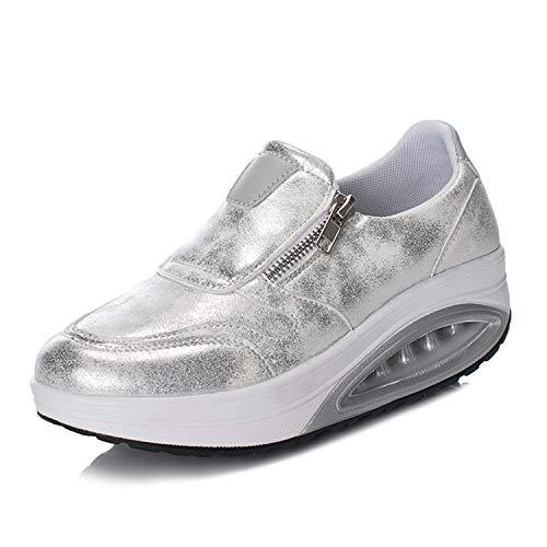Mujer Zapatos de Plataforma Zapatillas Mocasines de Marcha nórdica de cuña ortopédicas con cojín de Aire Plateado 38 EU
