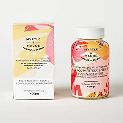 Myrtle & Maude Folic Acid with Folate Complex Pregnancy Vitamin. 99.8% Natural. 90 Tablets - Made in UK