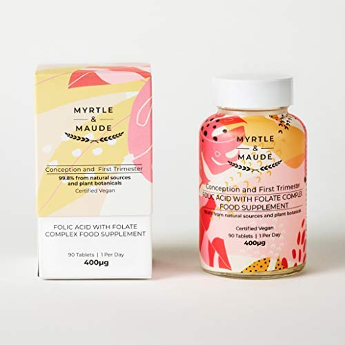 Myrtle & Maude - Folic Acid 400 mcg with Folate Complex Pregnancy Vitamin, 99.8% Natural, 90 Tablets - Made in UK & Certified Vegan