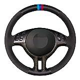 QOMFNG Funda para Volante de Gamuza Negra de Cuero Genuino, para BMW Serie 3 E46 2000-2006 Serie 5 E39 2000-2003 E53 X5 Z3 E36 2000-2002
