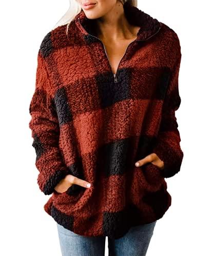 ZESICA Women's Plaid Long Sleeve Zipper Sherpa Fleece Sweatshirt Pullover Jacket Coat with Pockets,Orange Red,Large