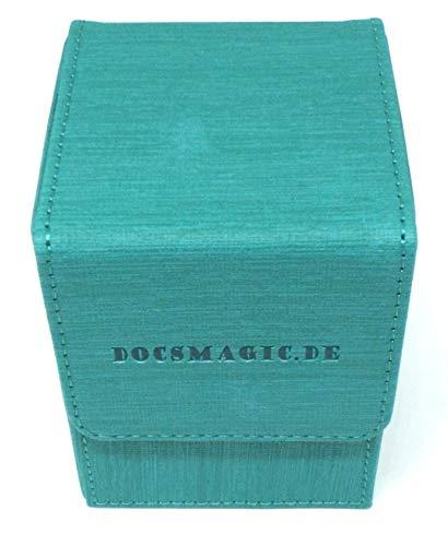 docsmagic.de Premium Magnetic Flip Box (80) Mint + Deck Divider - MTG PKM YGO - Kartenbox Aqua