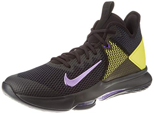 Nike Men's Training Basketball Shoe, Black Voltage Purple Opti Yellow White, Womens 8
