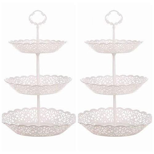 Set von 2 Stück 3 Etagen Kunststoff Cupcake Ständer Dessert Teller Obst Süßigkeiten Display Tisch weiß Ständer für Hochzeit Babyparty Zuhause Geburtstag Tee Party Dekoration rund