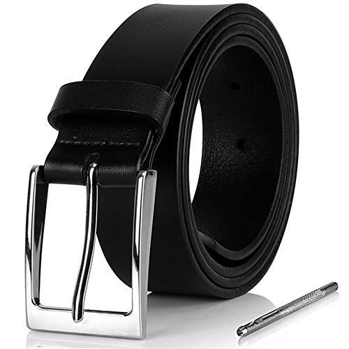 i-ZAGA Herren Gürtel, Dornschließe Herrengürtel Schwarz Ledergürtel für Männer - 35mm Breit - mit Geschenkbox