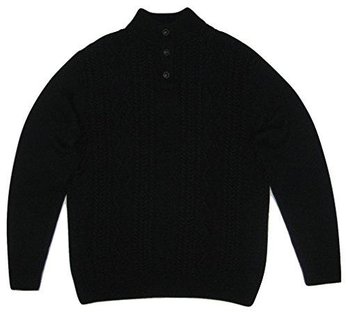 Chaps Men's Cable Knit Cotton Mockneck Sweater, Navy, Large