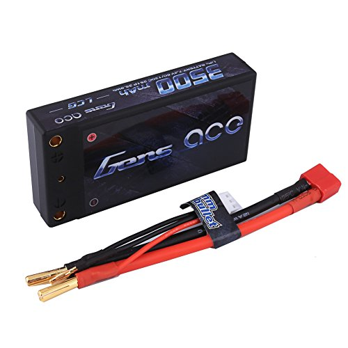 Gens ace 7.4V 3500mAh LiPo Battery Pack 60C 2S HardCase with 4.0mm Banana to Deans Plug for Traxxas Slash Emaxx Version HPI Strada XB 1 10 RTR Electric Buggy Kyosho GP 4WD Racing Truck