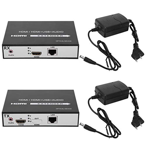 HDMI Extender, with Aluminum DC 5V Gigabit Adaptive RJ45 Port Fiber Media Converter