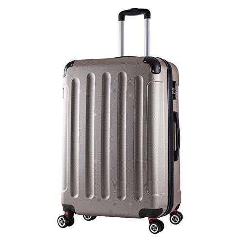 WOLTU RK4203ch, Reise Koffer Trolley Hartschale Volumen erweiterbar, Reisekoffer Hartschalenkoffer 4 Rollen, M/L/XL/Set, leicht und günstig, Champagne (XL, 76...