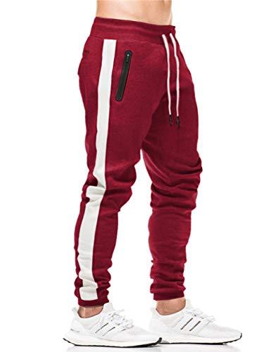 KEFITEVD Gym Pants Men Slim Fit Tapered Sweatpants Cotton Workout Pants for Men Outdoor Running Sweatpants Wine Red
