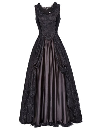 Belle Poque schwarz Kleid viktorianisch Gothic Kleid elegant Damen Korsett Kleid XL BP378-1