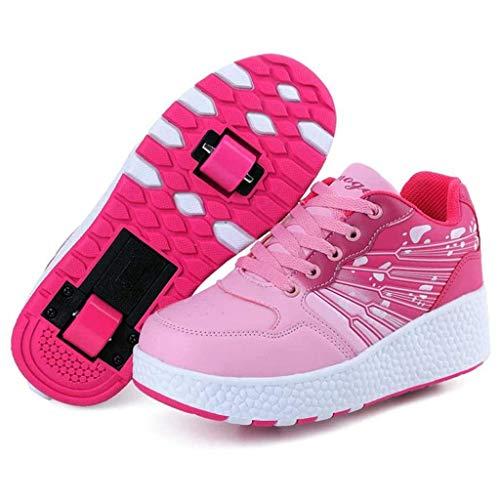 FFKL Patines Infantiles Unisex con 2 Rodillos, Zapatillas De Skate con Botones Ajustables, Calzado Deportivo para Que Los Niños Pequeños Corran