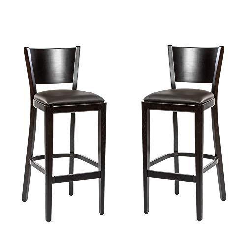 Dublino Holz Barhocker IC917SG/WENGE | 2er Set | Buche in WENGE mit Kunstleder Sitzfläche | Barhocker in Gastronomie Qualität
